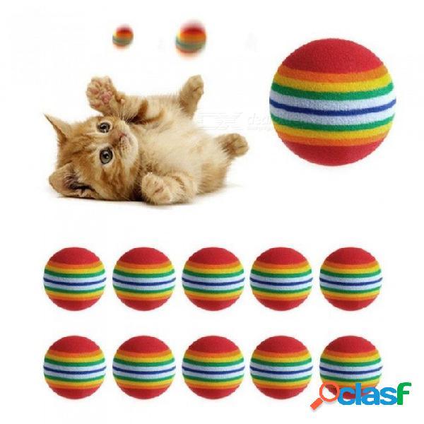 Gato colorido juguete bola interactiva gato juguetes jugar masticación sonajero rasguño espuma natural entrenamiento de entrenamiento para mascotas suministros 10 unids 10 unids