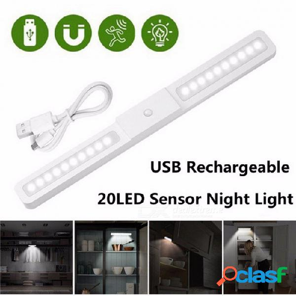 Luz de noche recargable con gabinete con sensor de movimiento de 20 led y lámpara de luz de armario de bar de 2 modos para la cocina de la escalera del guardarropa blanco / blanco