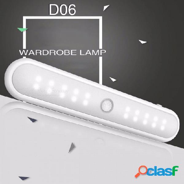 Luz nocturna de gabinete con sensor de movimiento mini 20-led, lámpara de luz de barra de bar con imán incorporado para escaleras de guardarropas blanco / blanco