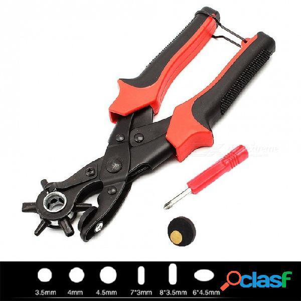 Nueva correa de alta resistencia correa de cuero perforadora mano alicates cinturón punzón giratorio herramientas de bricolaje hg99 perforadora de agujeros de acero al carbono 3 ronda 2 plana
