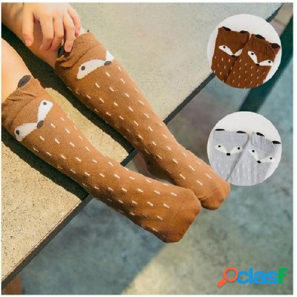 1 par unisex encantador lindo zorro de dibujos animados niños calcetines bebé rodilla niña niño bebé niño calcetines calcetines de algodón suave infantil bebé 0-3 y 3 m / azul y rojo mezcla