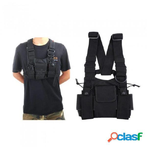 Bolsa de radio bidireccional de nylon paquete de bolsillo en el bolsillo bolso de walkie talkie bolsa de transporte para motorola cp040 para baofeng uv-5r 1 unids negro