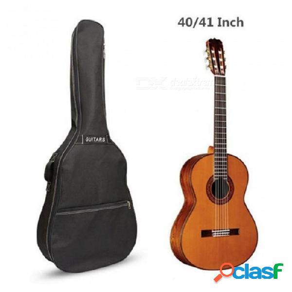 Bolso de la guitarra de 40/41 pulgadas bolsa de transporte mochila oxford guitarra acústica popular funda de la bolsa con doble asa de hombro negro