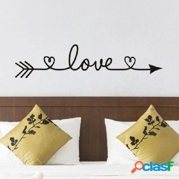 Flecha de amor calcomanías de pared de vinilo removible dormitorio pegatinas de pared decoración para el hogar sala de estar con color negro y rosa 13 cm x58 cm / negro