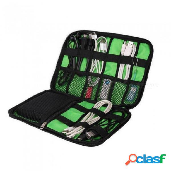 Organizador ipad impermeable cable de datos usb auricular cable pluma banco de energía accesorios de viaje estuche dispositivos digitales con dispositivo bolso azul