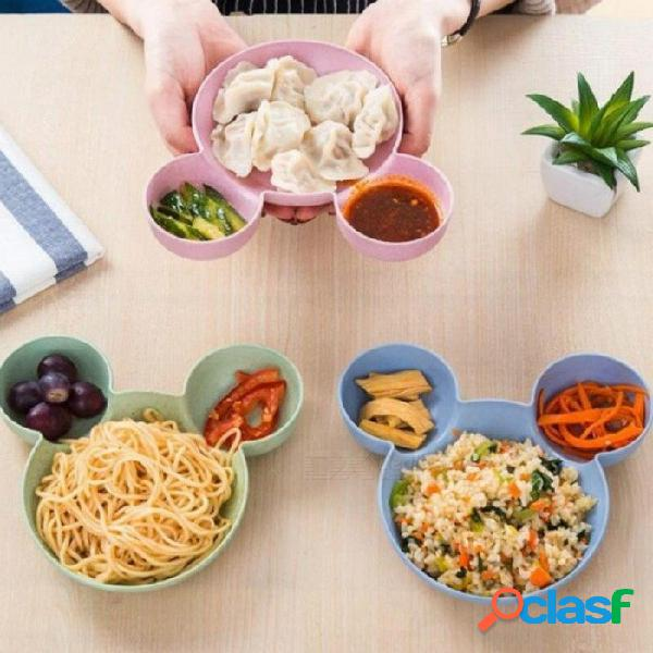 Plato de cena de paja de los niños de dibujos animados lindo mickey trigo tazón regalo bebé tazón de fruta plato de comida