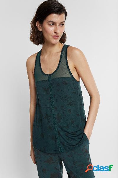 Camiseta floral eco de tirantes con rejilla - GREEN - M