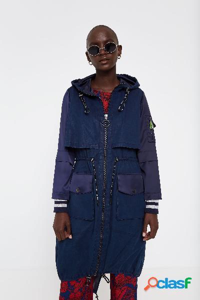 Gabardina larga con capucha y capas - BLUE - S