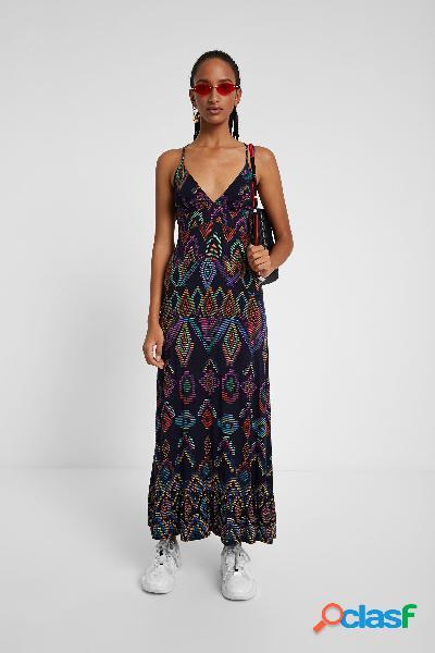 Vestido largo y eco con estampado geométrico - BLUE - S