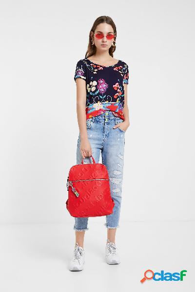 Camiseta estampado floral tropical - blue - m