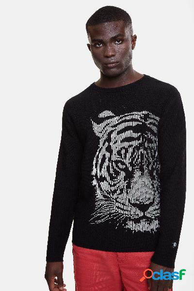 Jersey canalé con tigre estampado - black - xl