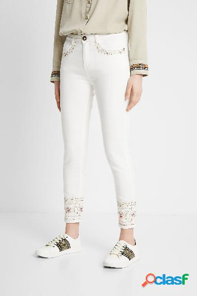 Pantalón vaquero skinny bordado étnico - white - 34