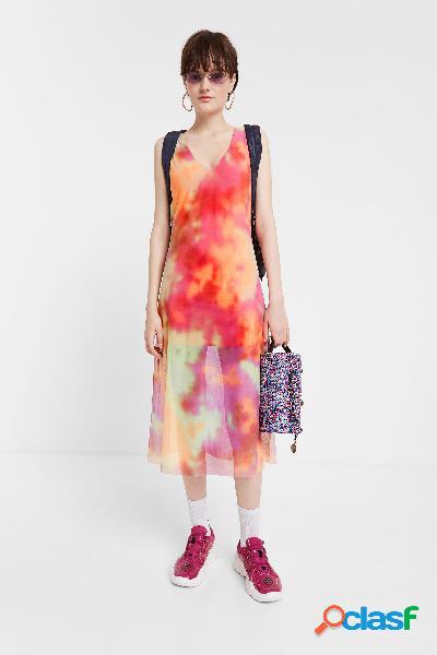 Vestido evasé doble capa tie dye - material finishes - m