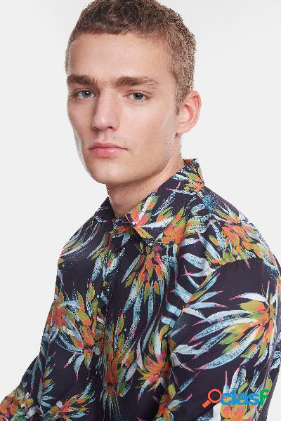 Camisa estampado floral tropical - blue - m