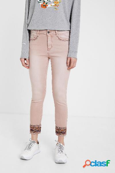 Pantalón vaquero skinny bordado étnico - red - 34