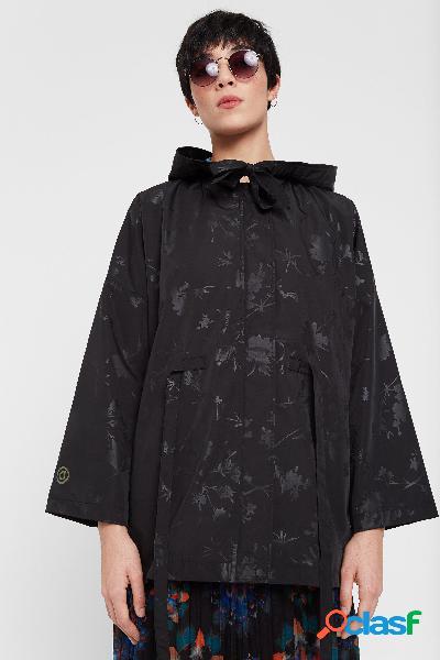 Parka floral impermeable con capucha - black - m
