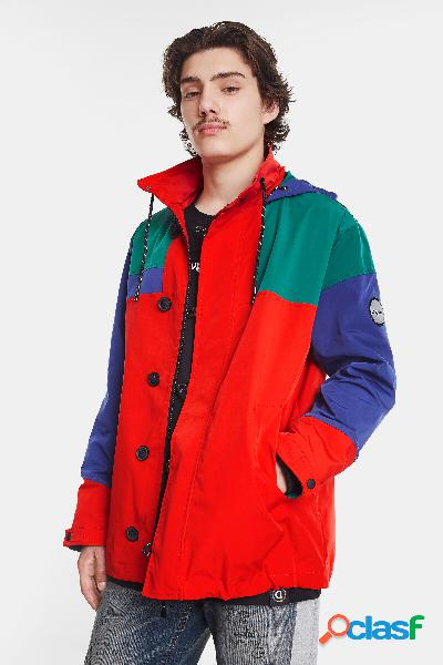 Parka impermeable tricolor capucha - red - m