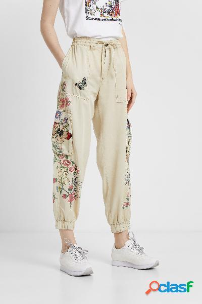 Pantalón largo cargo floral - brown - s