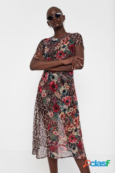 Vestido midi print floral y animal - brown - xl