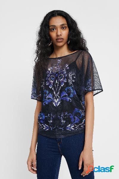 Camiseta floral doble capa - blue - s