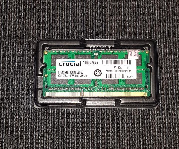 Memoria crucial sodimm 4gb ddr3 1066 (8500) nueva.