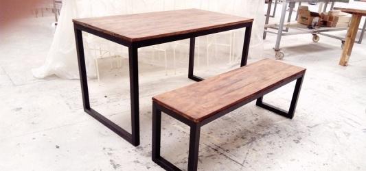 Mesa y banco, estilo industrial, directo de fábrica