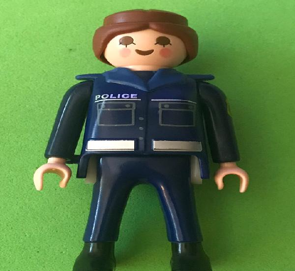 Playmobil policia mujer pelo marron uniforme azul marino