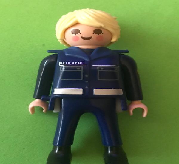 Playmobil policia mujer pelo rubio claro coleta uniforme