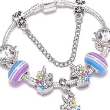 Pulsera unicornios charms, abalorios plata
