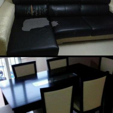 Sofa chaise longue mesa y sillas