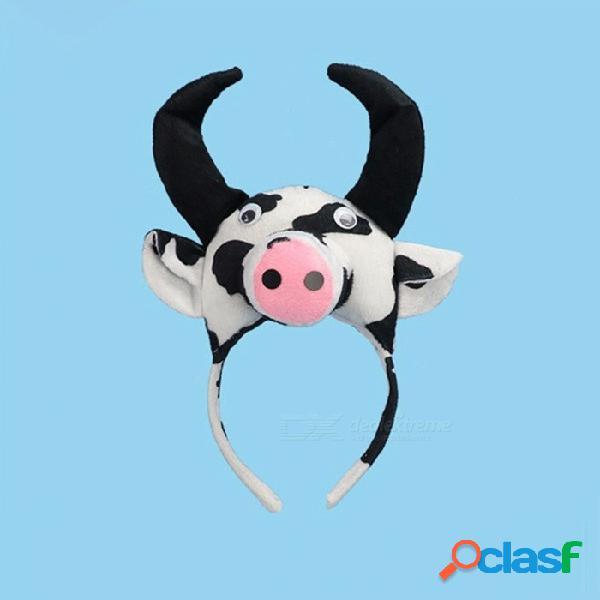 Diadema animal del ganado del toro 3d de los niños, hairband del desgaste del traje del cosplay para el funcionamiento blanco de la etapa del funcionamiento del partido