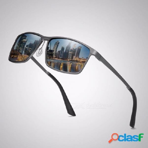 Gafas de sol polarizadas de aluminio y magnesio para hombres de alta calidad recubiertas de deportes que conducen gafas de sol para viajar negras