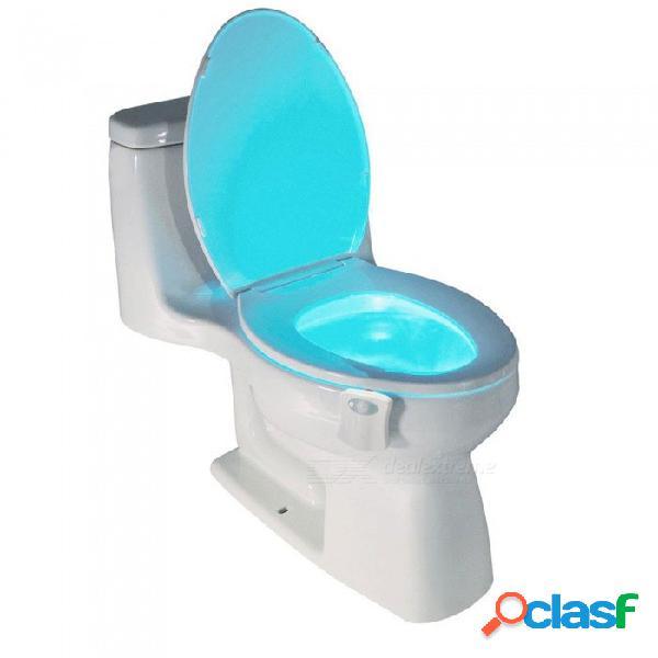 Luz nocturna de asiento de inodoro con sensor de movimiento pir inteligente, 8 colores luz de fondo impermeable taza de inodoro led wc luz nocturna