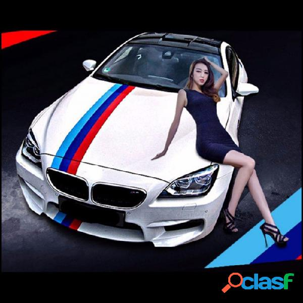 Pegatina De Estilo De Coche Bandera De Tres Colores PVC Raya Calcomanía Etiqueta De Parachoques Decoración Del Coche Pegatinas BMW Azul