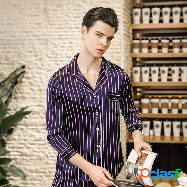Pijamas conjuntos de moda de primavera y otoño de imitación de seda a rayas de manga larga tops + pantalones traje de salón ropa de casa azul / xxl