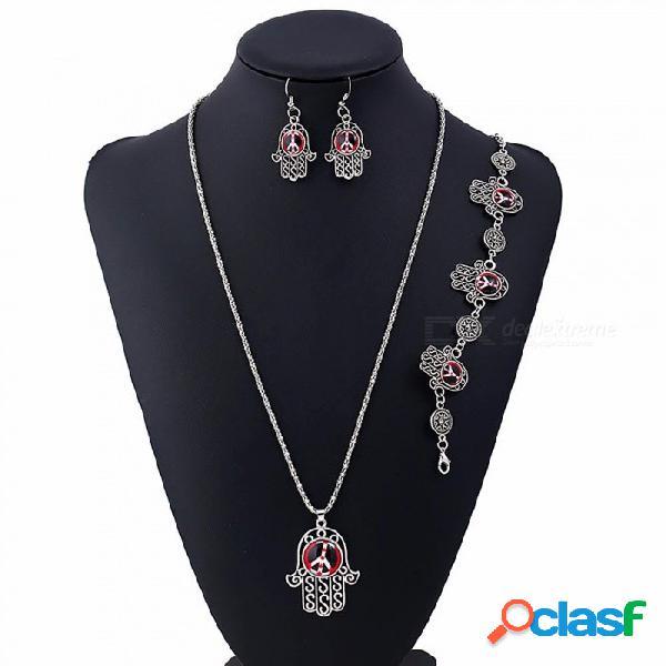 Símbolos de paz estilo colgante, collar colgante, pendientes, pulsera, conjunto, joyería de moda, conjuntos, para, mujeres, negro