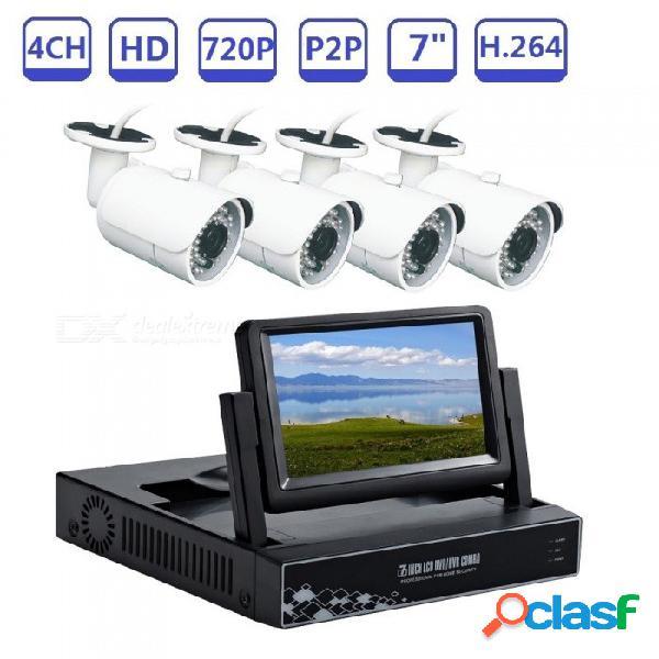 4ch 720p plug and play ahd dvr kit de video vigilancia incorporado en la pantalla lcd de 7 pulgadas con cámara hd de visión nocturna ir de 1mp - enchufe de reino unido
