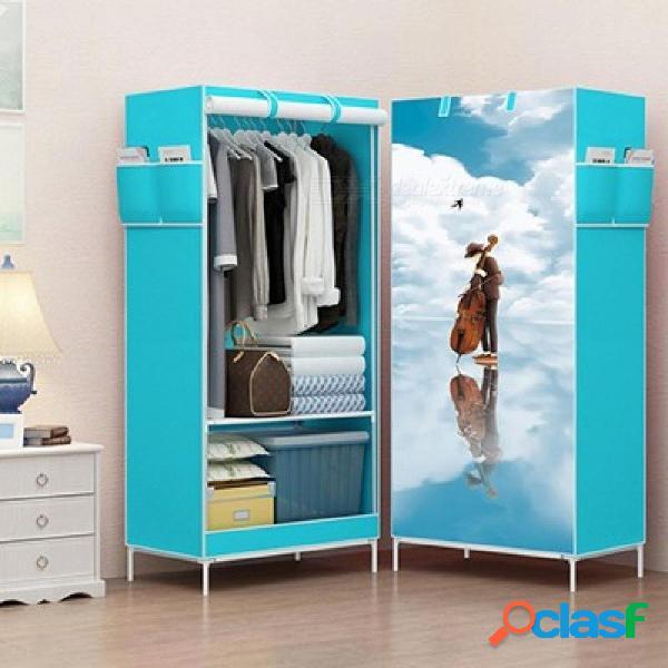 Armario de tela de dibujos animados de unión mágica gabinete de almacenamiento no tejido panorama armario de ropa armario 3d armario pequeño armario armario