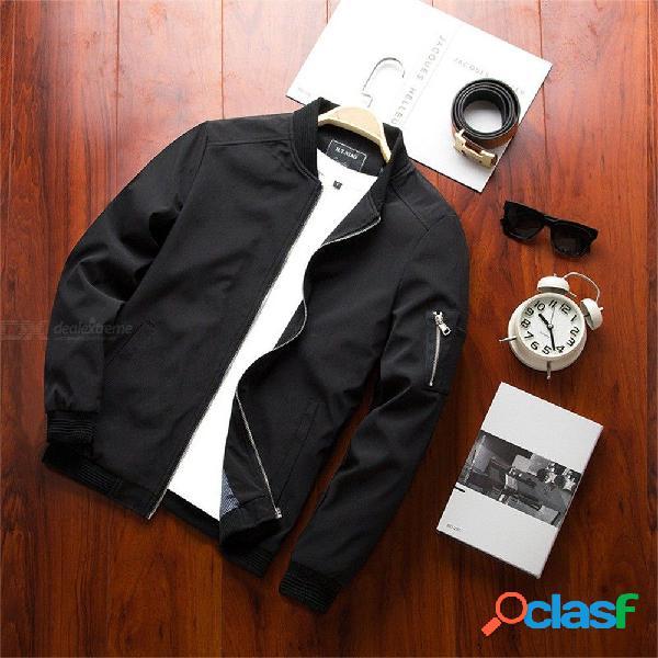 Chaqueta casual de primavera y otoño para hombres chaqueta cortaviento de color sólido abrigo a prueba de viento sección delgada