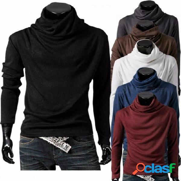 Cuello alto de los hombres / collar de la pila camisetas casuales de punto manga larga camiseta color sólido t150 para hombres negro / m