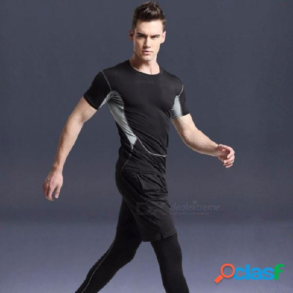 Deportes de verano al aire libre correr fitness camiseta de manga corta transpirable + pantalones + pantalones cortos para hombres traje de secado rápido negro / m