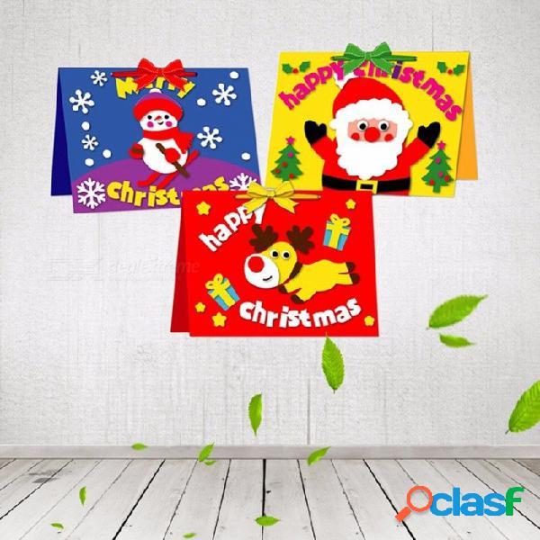 Dibujos animados lindo pequeño muñeco de nieve de papá noel diy tarjeta postal de felicitación de navidad feliz tarjeta de regalo navidad rojo
