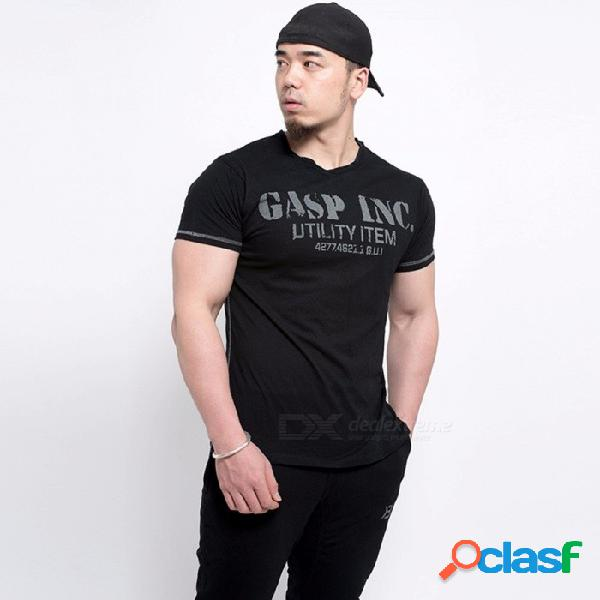 Estilo de moda de verano para hombre camiseta con estampado modal de algodón camiseta con cuello o manga corta camiseta para hombre negro / m