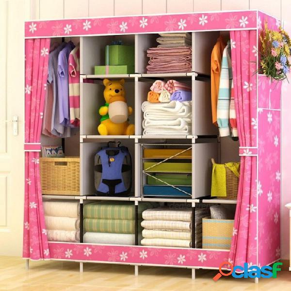 Moderno simple armario hogar tela plegable paño sala de almacenamiento ensamblaje king size refuerzo combinación simple armario azul