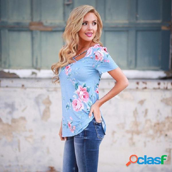 Nueva camiseta de verano con estampado floral con cuello en v correas cruzadas camisas de manga corta para mujeres azul / s