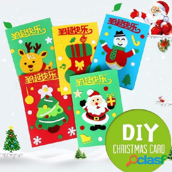 Santa claus feliz árbol de navidad saludo de papel tarjetas postales deseos arte diy niños festival saludar tarjetas regalo rojo