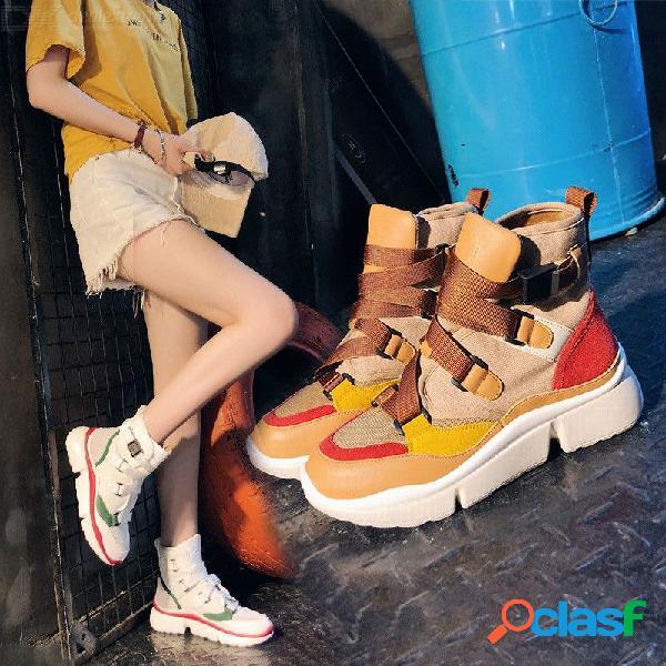 Correa de hebilla transpirable para mujer zapatos casuales zapatillas de deporte de alta top patchwork calzado