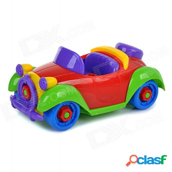 Diy montó el juguete educativo del coche de la vendimia para los cabritos / los niños - rojo + azul + multicolor