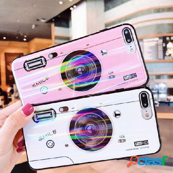 Estuche para teléfono retro vintage con patrón de cámara aurora brillante con soporte de bolsa de aire para iphone x / 7 / 8, 7 más / 8 más negro / iphone x