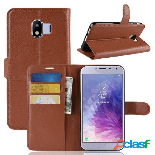 Funda con tapa de cuero para tirar la cartera del teléfono naxtop para samsung galaxy j4 (2018) eu - marrón, rojo, negro